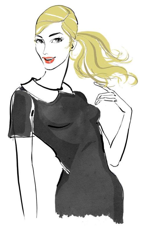 Dame aux cheveux bruns - Une illustration de Silke Bachmann