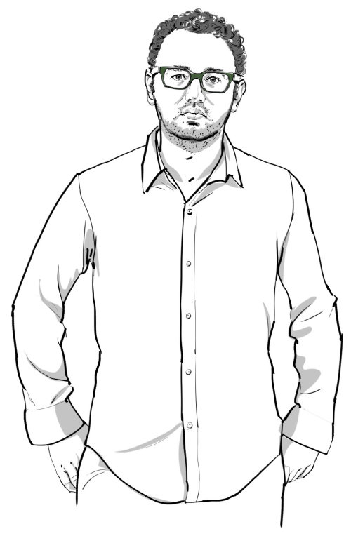 Line drawing of curly hair man