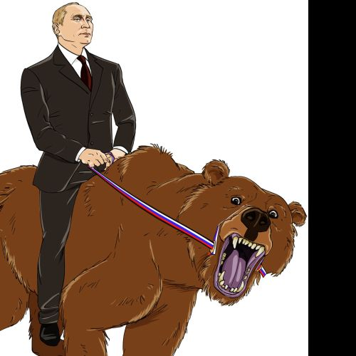 Putin riding a wolf illustration