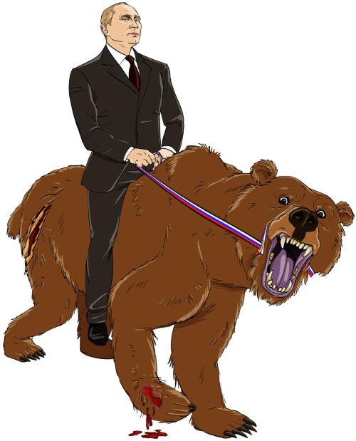Poutine chevauchant une illustration de loup