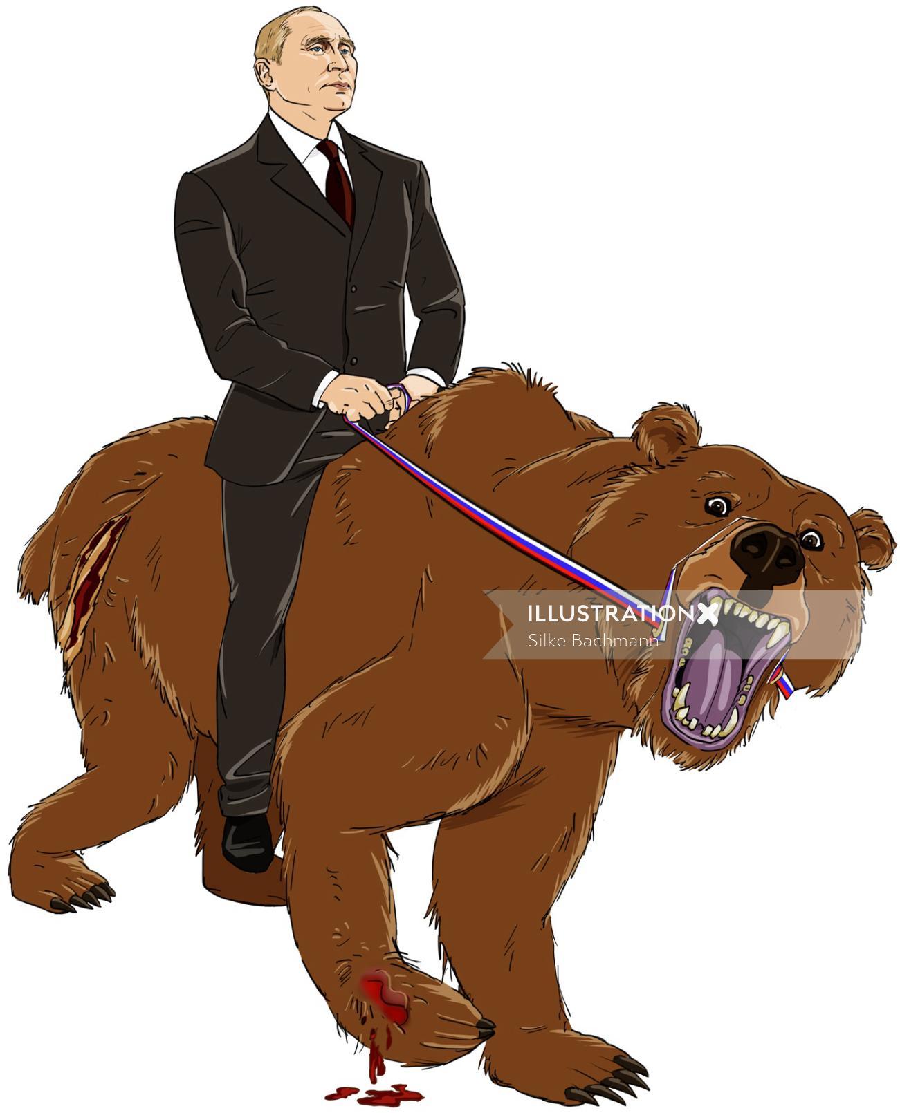 Putin riding a wolf illustration