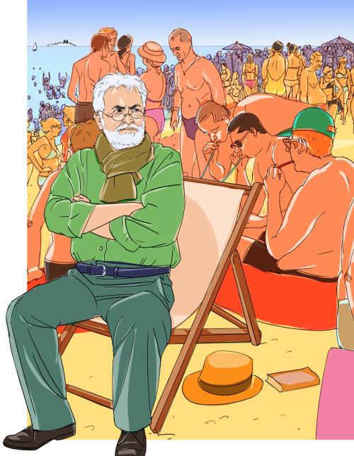 Une illustration des gens sur la plage
