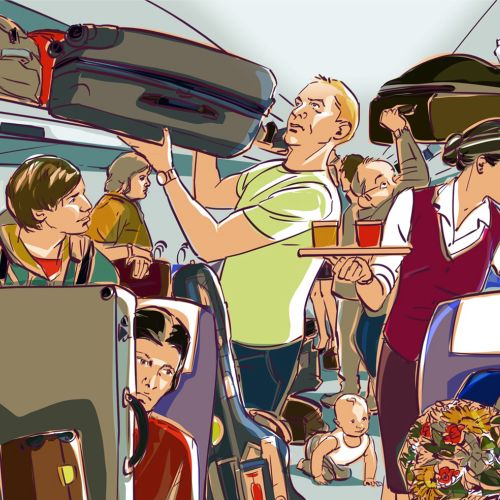 Illustration of People in aeroplane