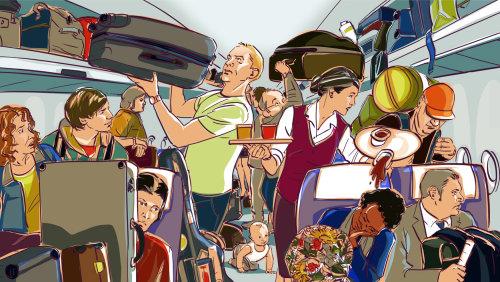 Illustration de personnes en avion