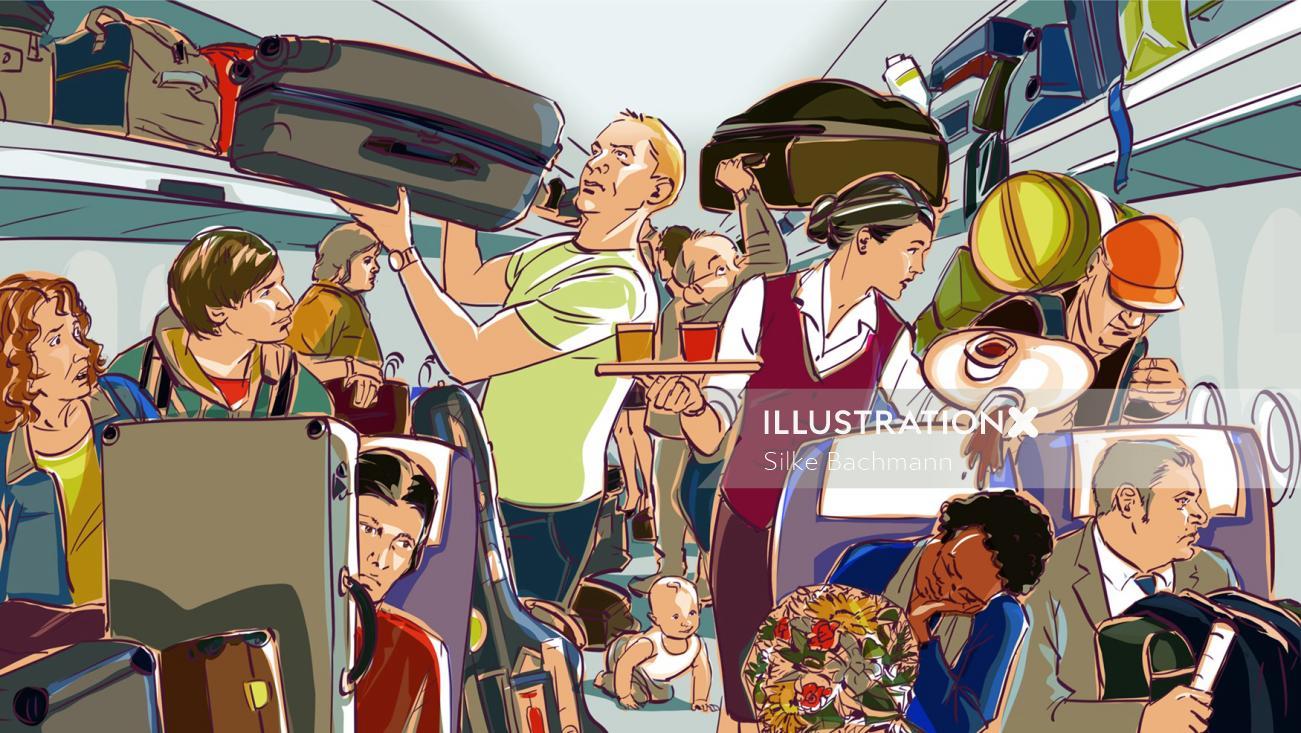 Illustration of People in aeroplane