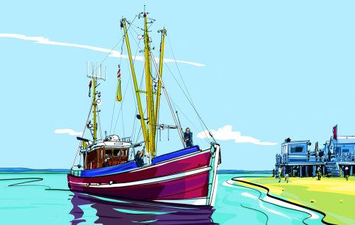 Illustration rétro d'un bateau ambulant