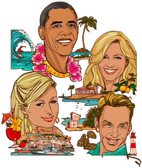 Gens de célébrités à la plage