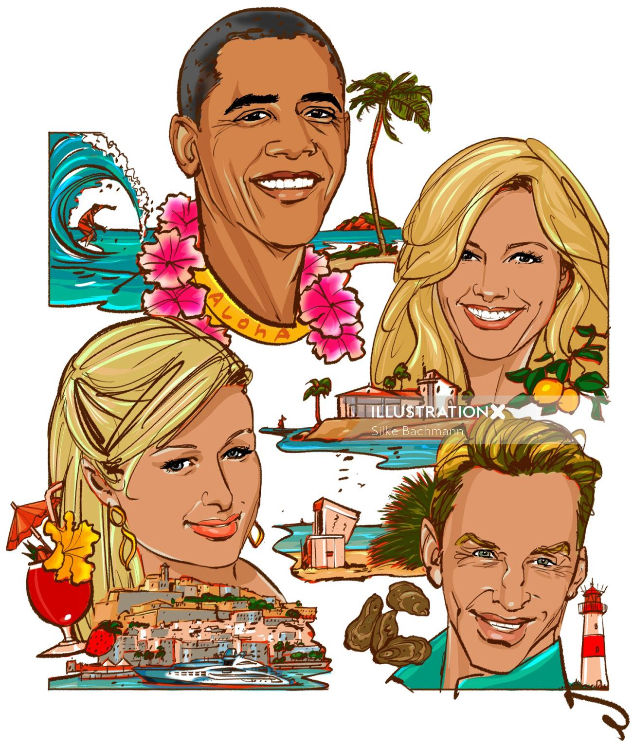 Celebrity people at beach
