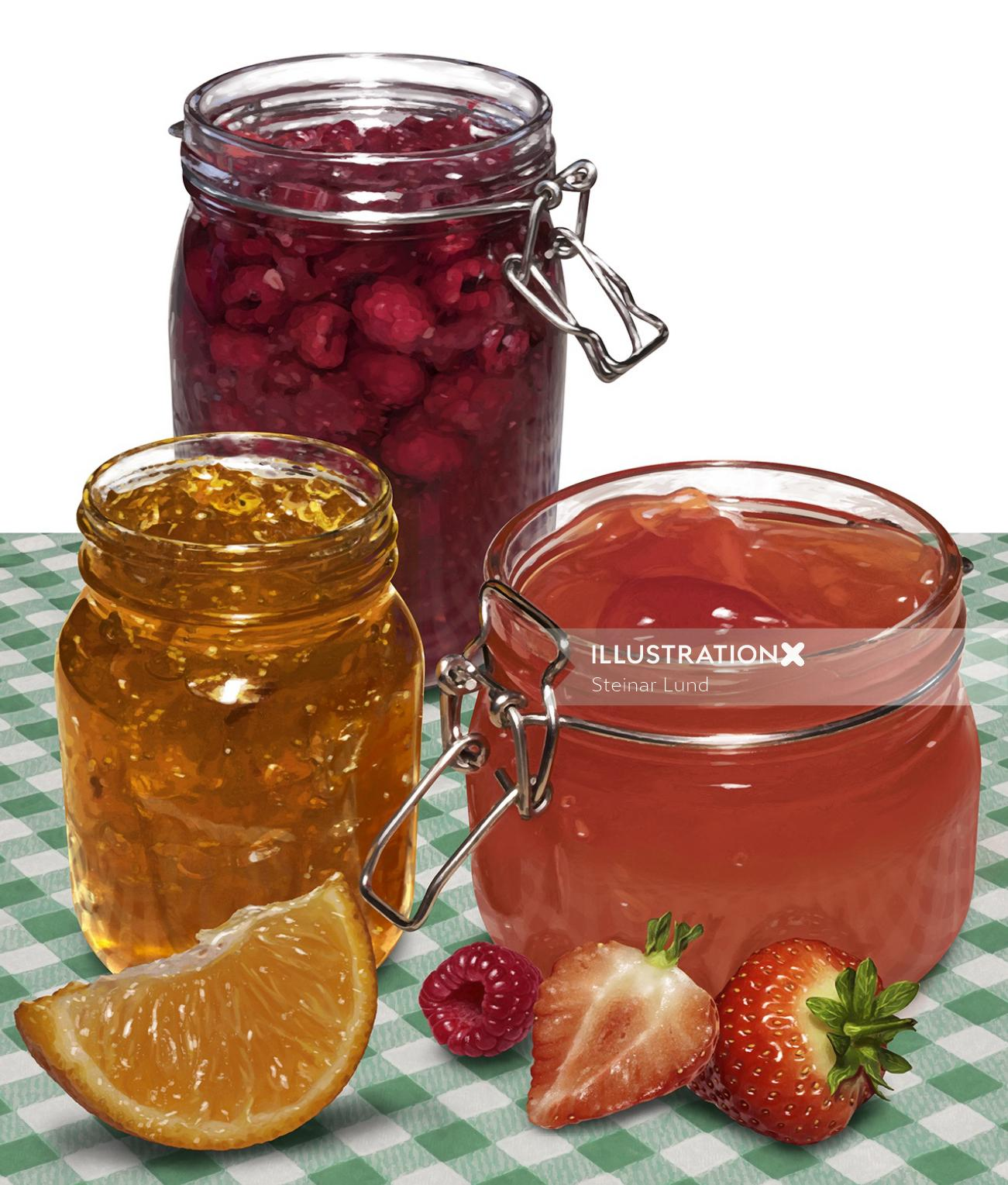 Jelly and Marmalade with pieces of fruit