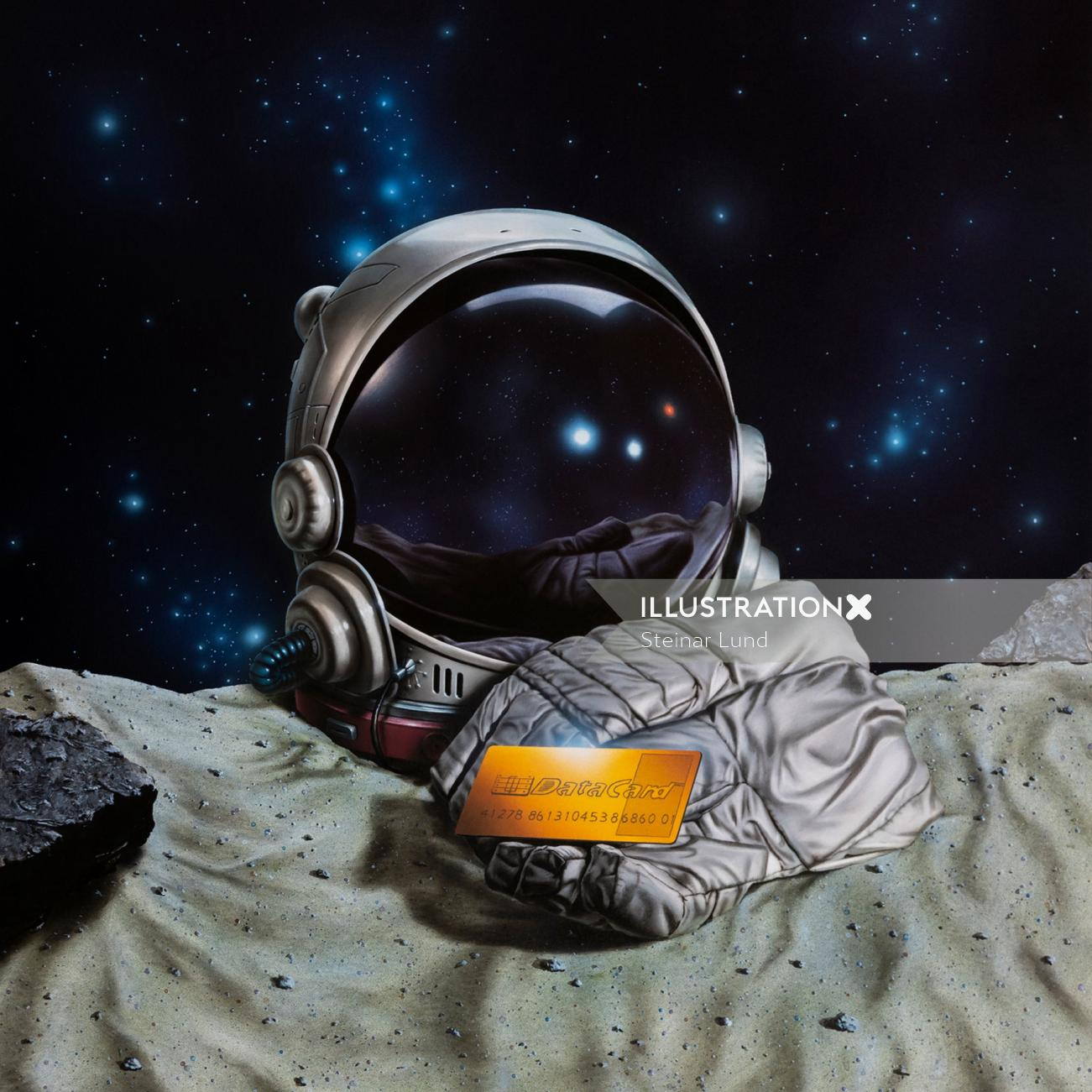 Space helmet and gloves