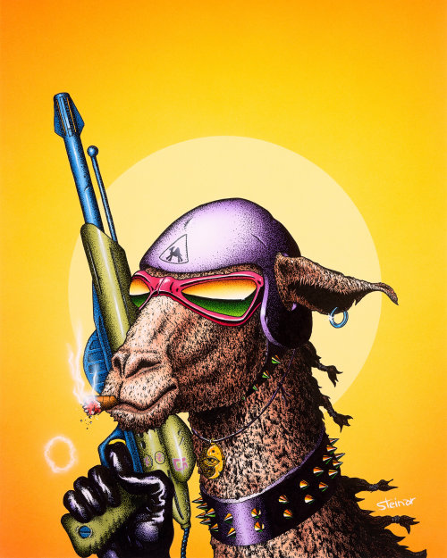Animals camel with weapon.