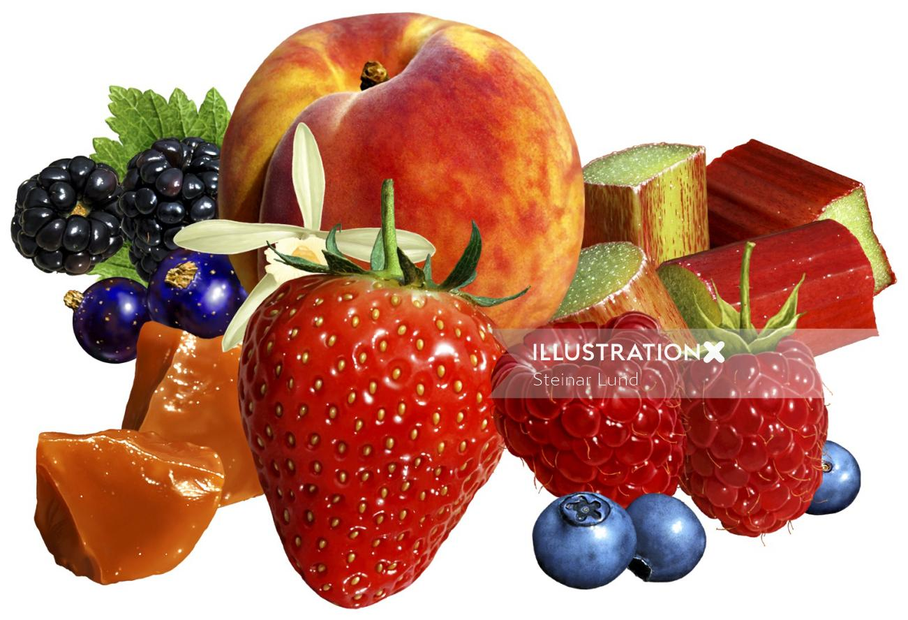3d rendering art of fruits