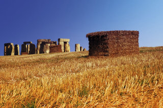 Stonehenge with hay stacks illustration