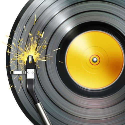 Graphic Illustration of record deck arm with sparks