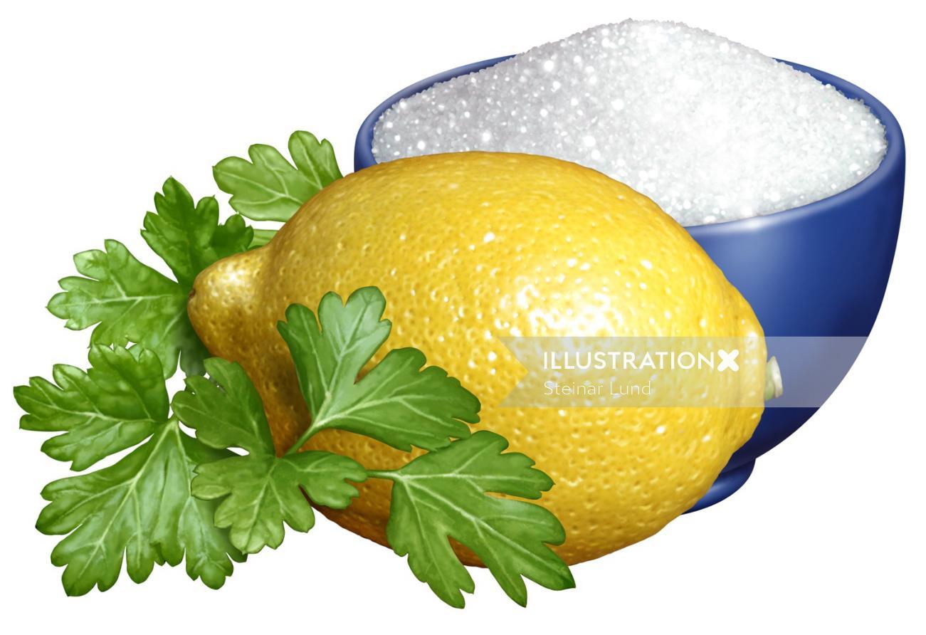 Digital design of Parsley Lemon and bowl of Sugar for Marzetti`