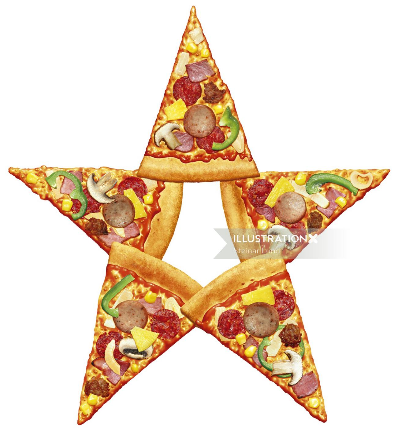 Photorealistic of star shaped pizza slices