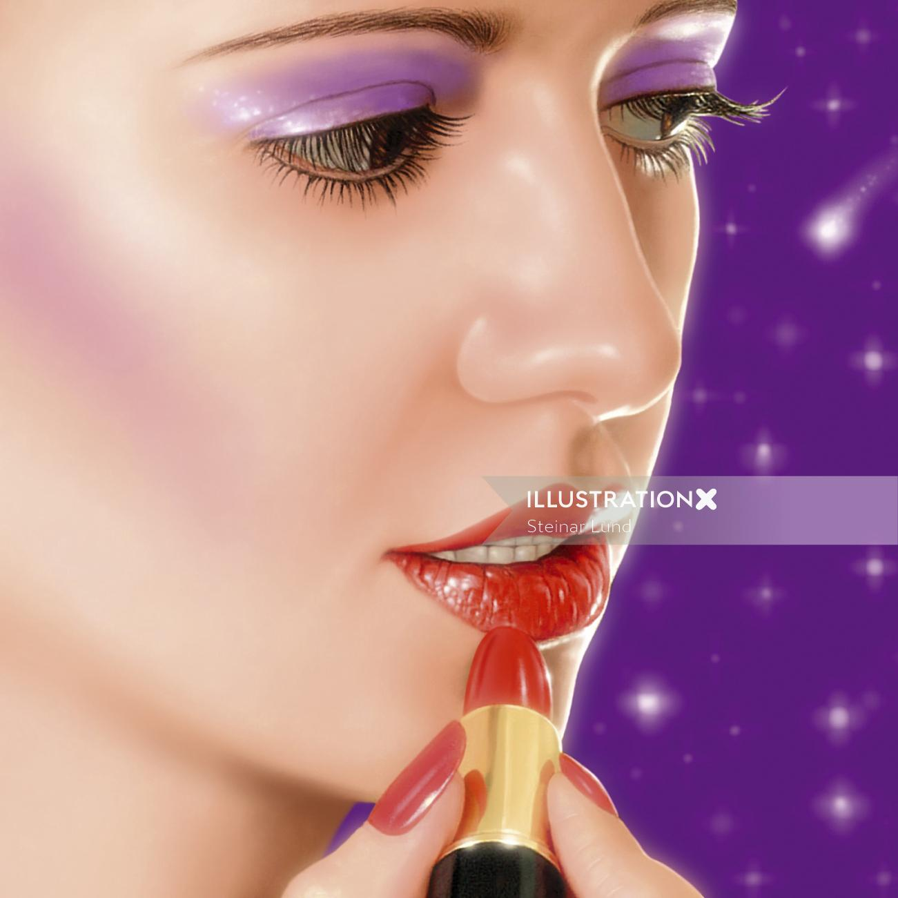 Realistic imagery of woman putting on lipstick