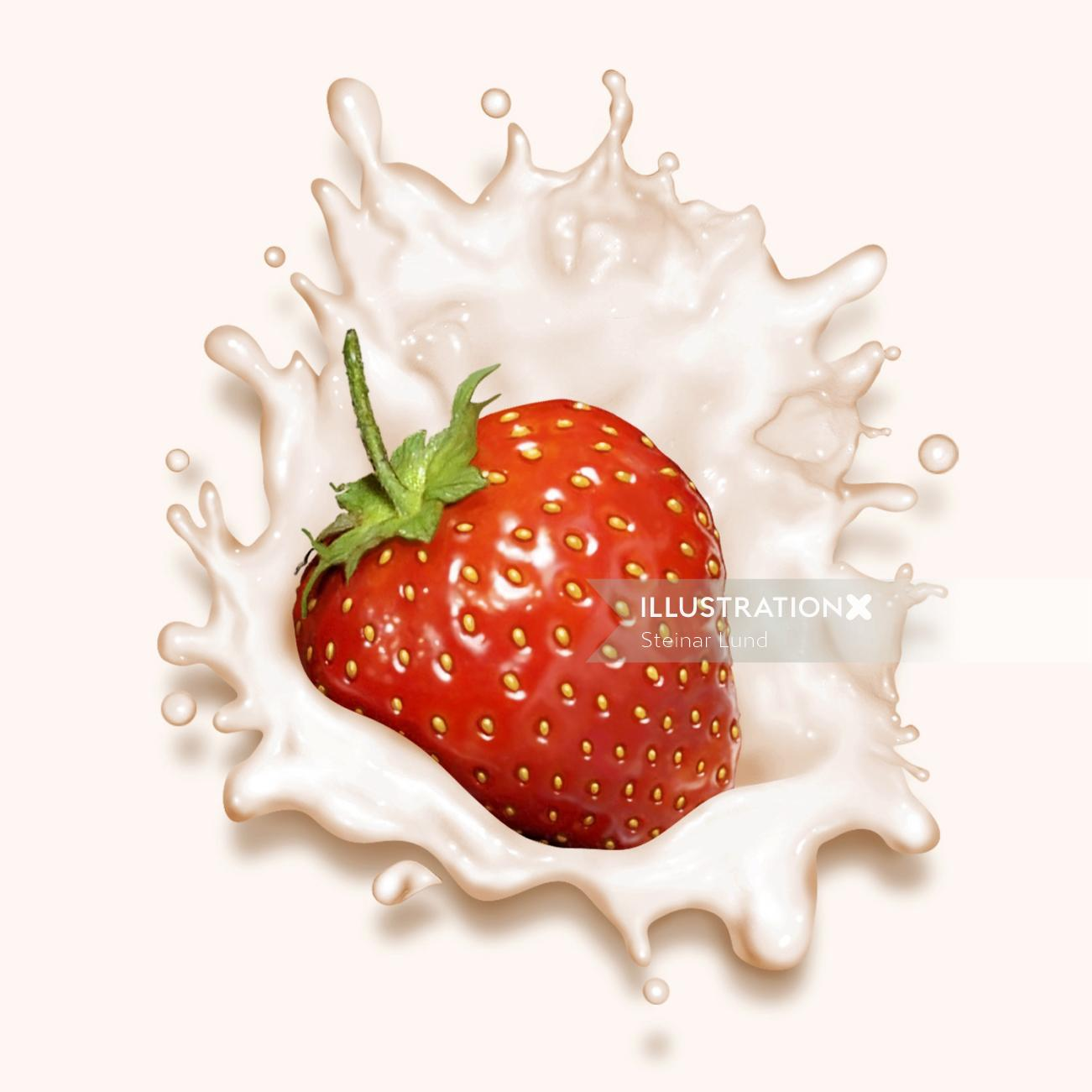 Strawberry falling into yogurt causing a splash