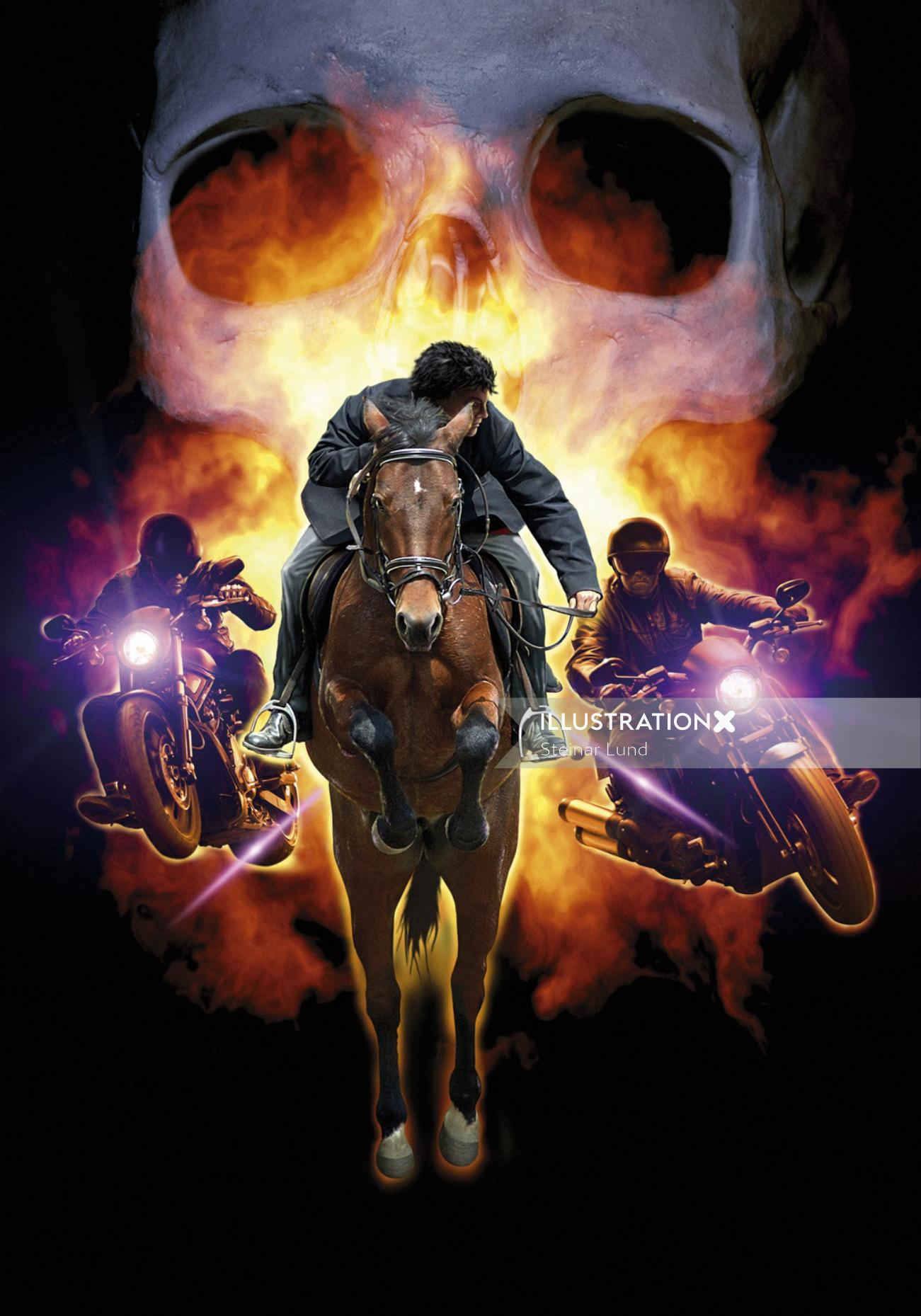 Action with horse rider and motorbikes