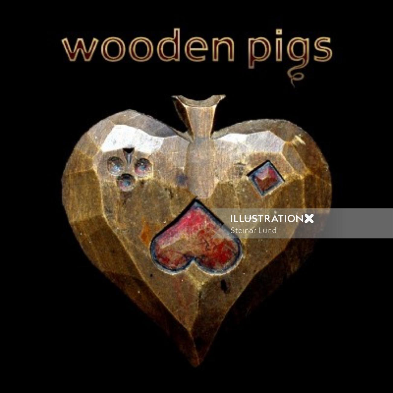 wooden heart logo and lettering
