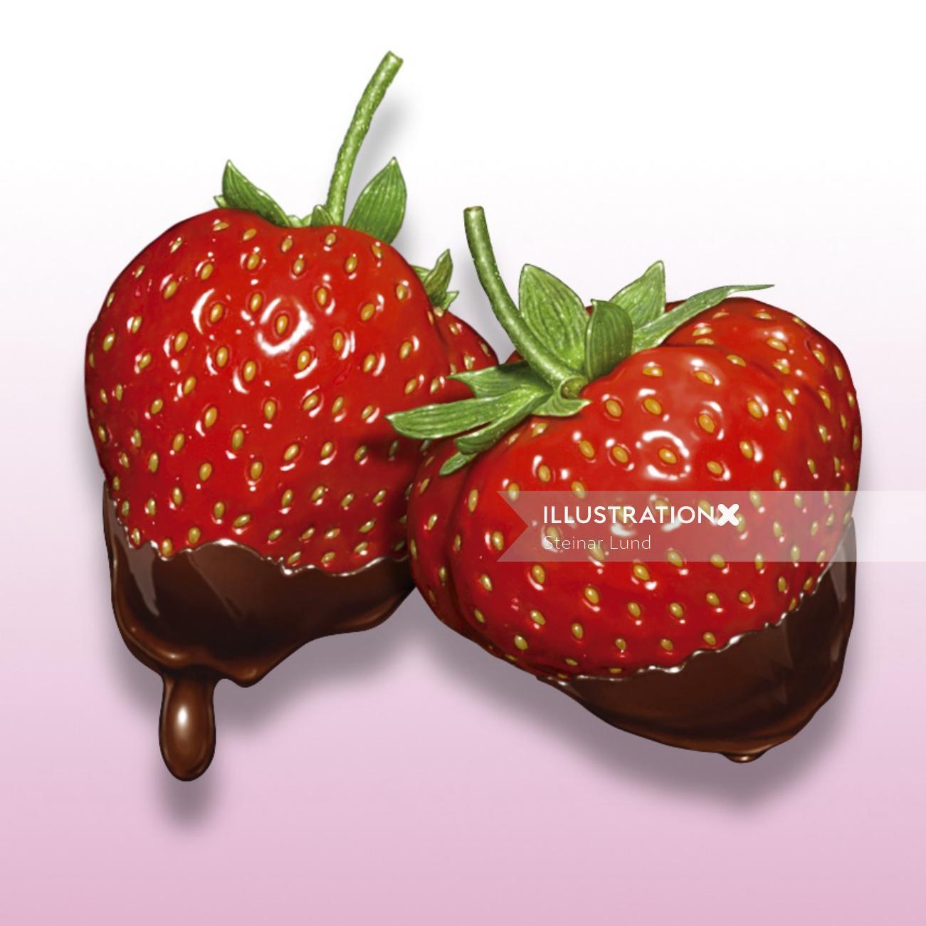 Food illustration of strawberries