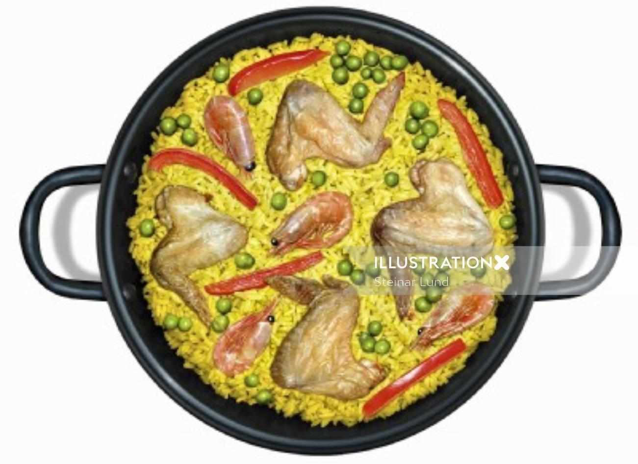 illustration of food paella by Steinar Lund