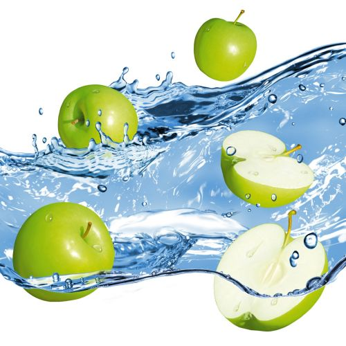 Green Apples in water splash