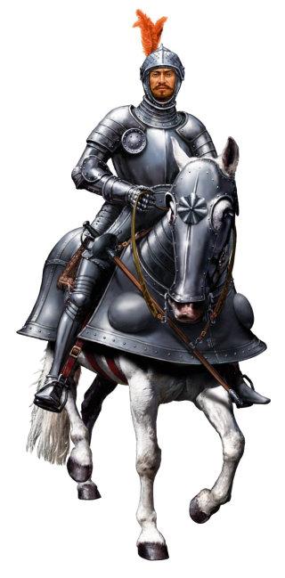 realistic art of conquistador armoured horse
