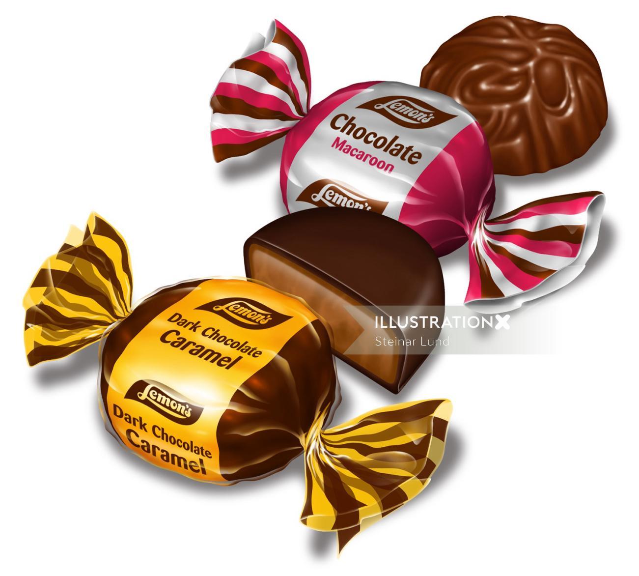 Package illustration of chocolates for Lemons`