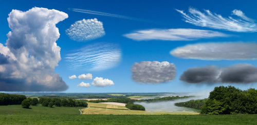 Landscape with different type clouds