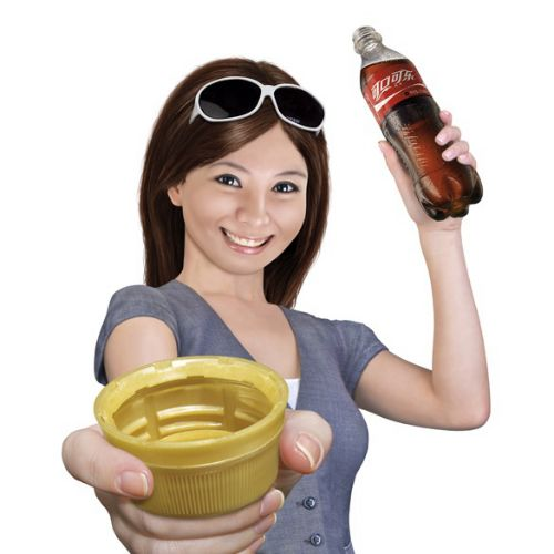 Young fashionable Chinese girl with Coke bottle and lid
