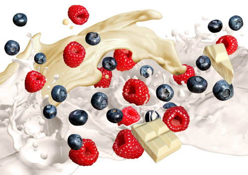 Cream and milk splashes with fruit and white chocolate