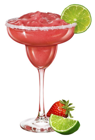 Margarita Cocktail with Lime and Strawberry
