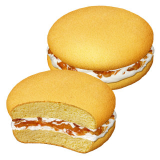 Round mini cake with cream and orange filling