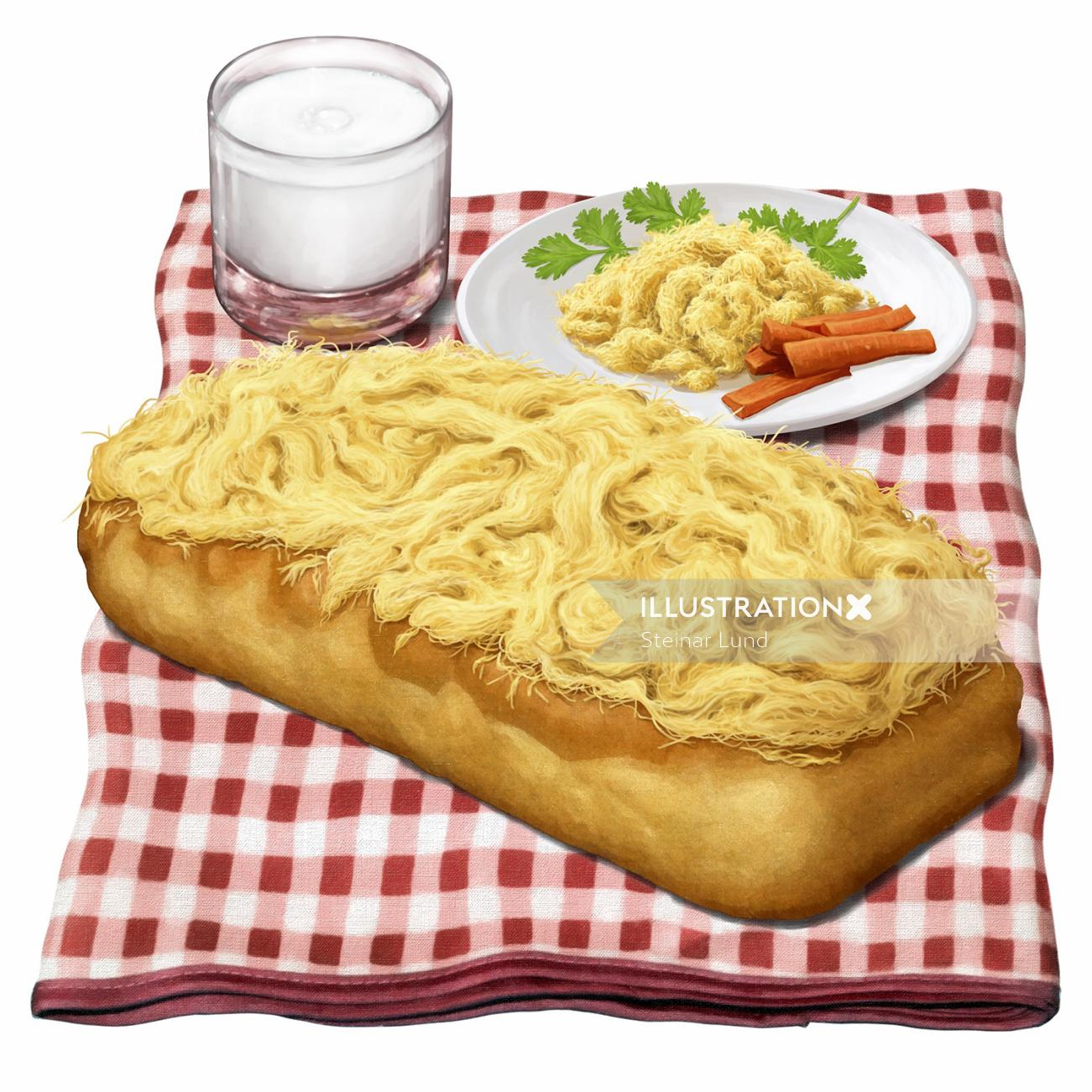 Photo realistic pork floss bread with plate
