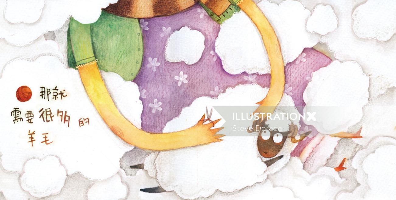 watercolor illustration of  woman shearing
