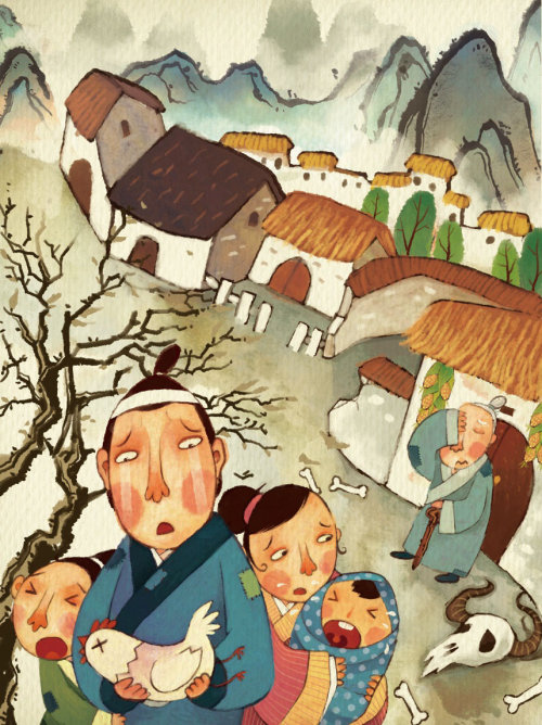 street scene of Chinese story nian children book