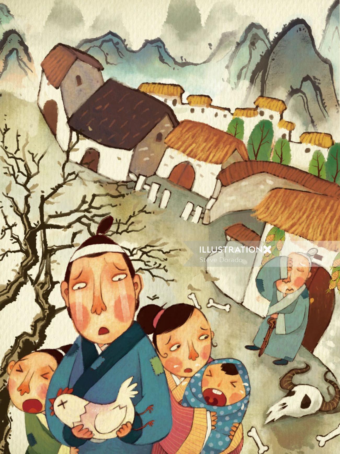 street scene of Chinese story nian children book