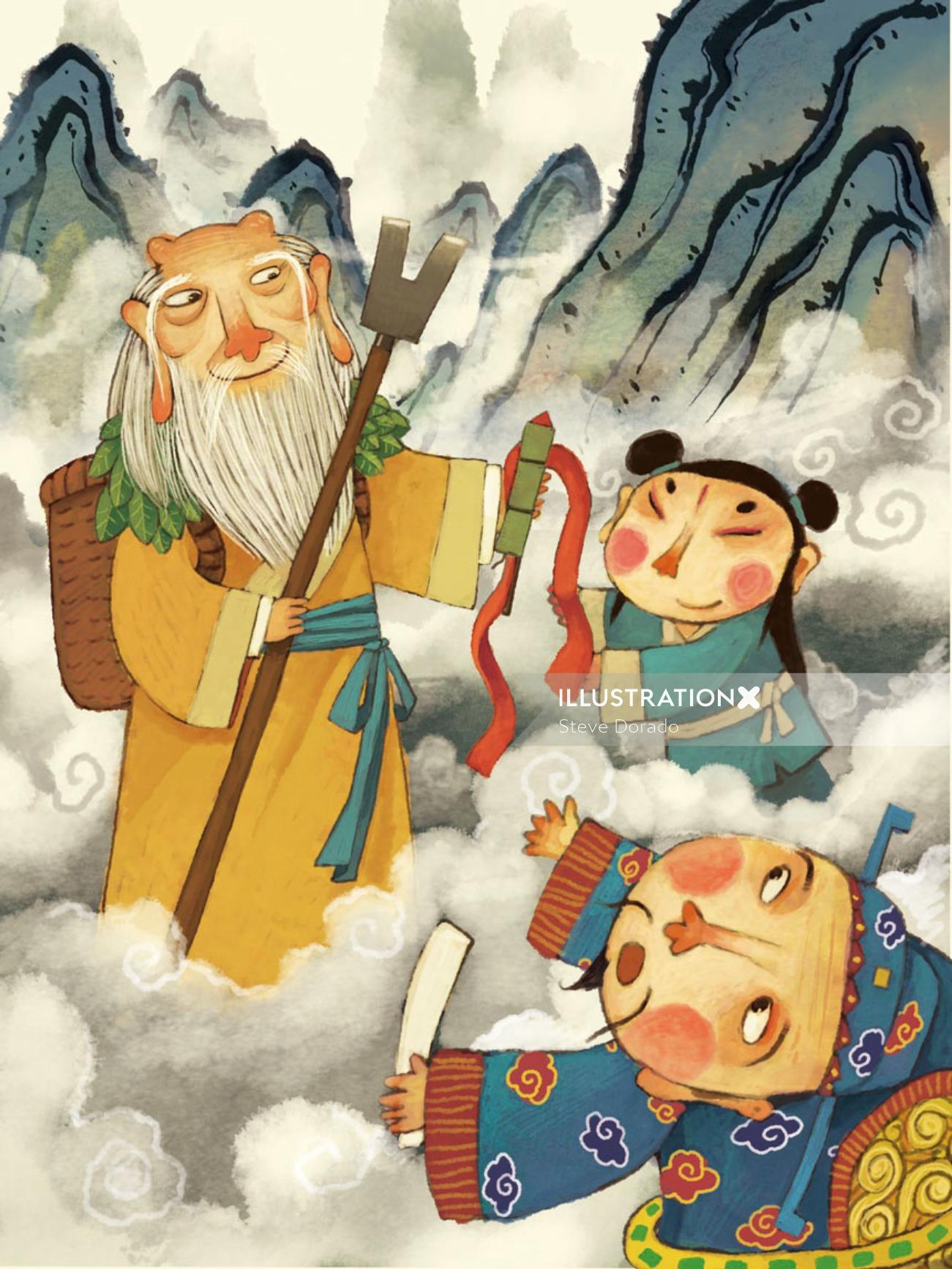 graphical illustration of Chinese story nian