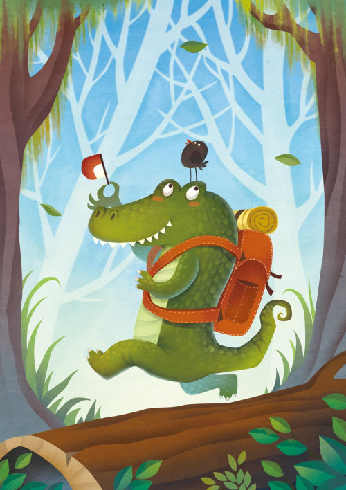 Comic crocodile illustration by Steve Dorado