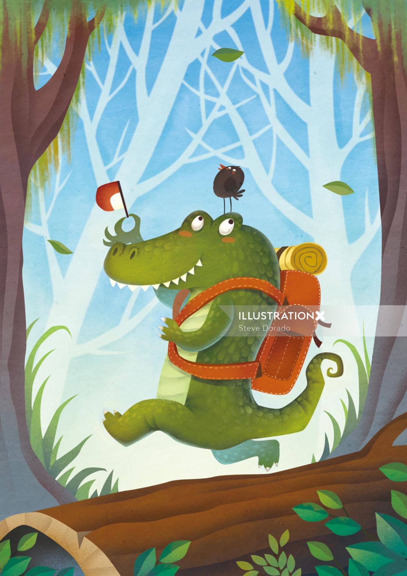 Comic crocodile illustration by Steve Dorado