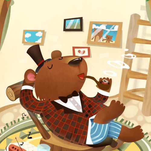 Children Illustration bear smoking pipe