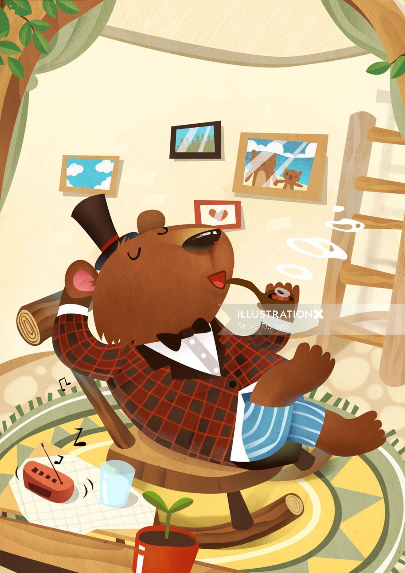 Children Illustration bear smoking pipe