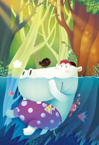cartoon character of bird & hippo swimming in water