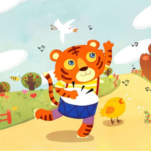 Children Illustration Dancing tiger bear