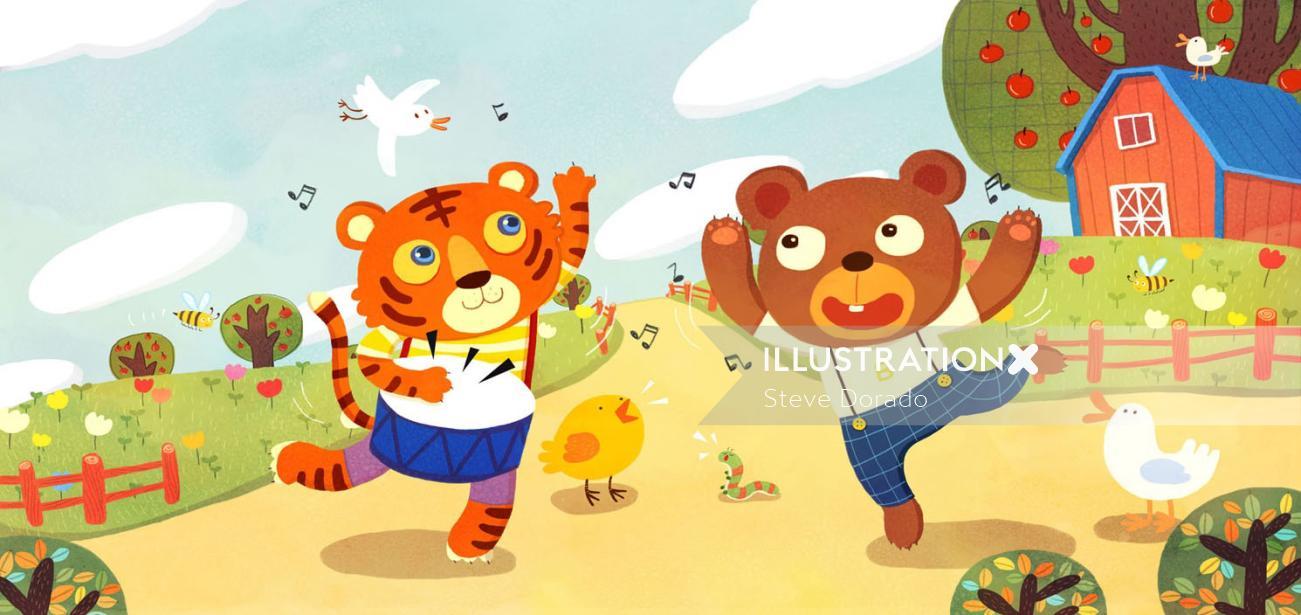 Children Illustration Dancing tiger bear