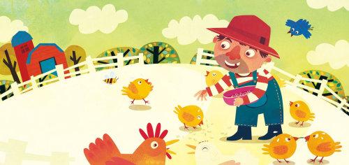 Children Illustration farmer with chicken