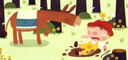 Children Illustration boy felll off donkey