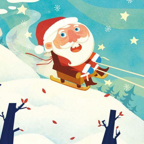 Children Illustration santa skiing with dog