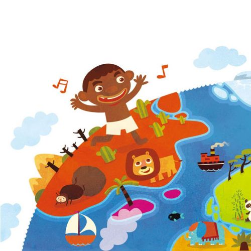 Children Illustration music party on island